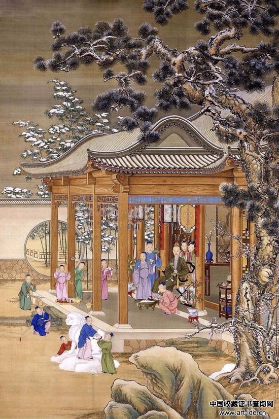 清 郎世宁、沈源、周鲲、丁观鹏 《弘历雪景行乐图》