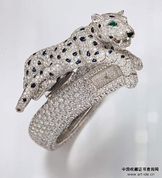 卡地亚超凡独特女装白金、钻石、蓝宝石及黑玛瑙「豹」造型 腕表