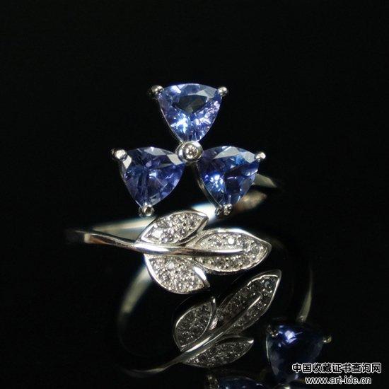 银镶坦桑石三叶草戒指