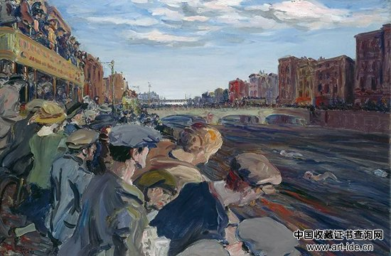 杰克・巴特勒・叶芝,《利菲河上的游泳比赛》(The Liffey Swim),1923年,© 爱尔兰国家美术馆(都柏林)